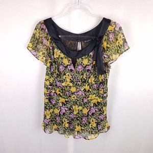 Guess Jeans 100% silk print short sleeve top Large